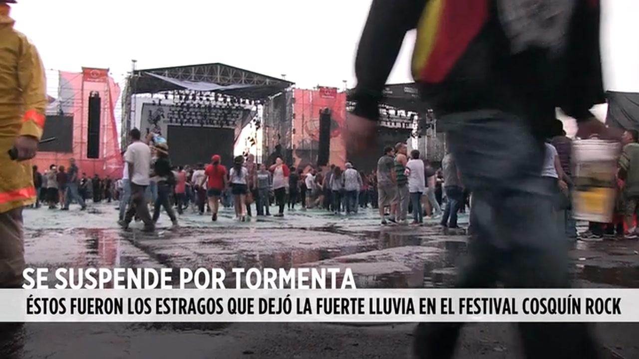 Video: La lluvia suspende Cosquín Rock