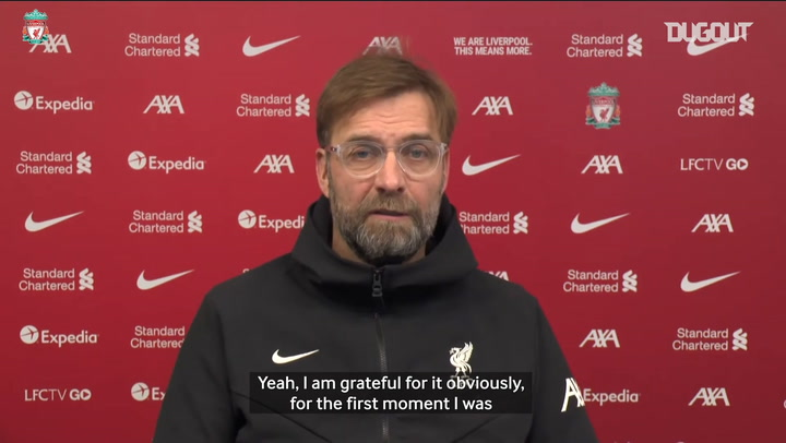 Jürgen Klopp reacts to winning FIFA coach of the year