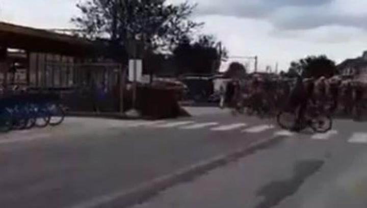 Brutal: Un espectador causa el pánico en pleno pelotón del Tour del Benelux