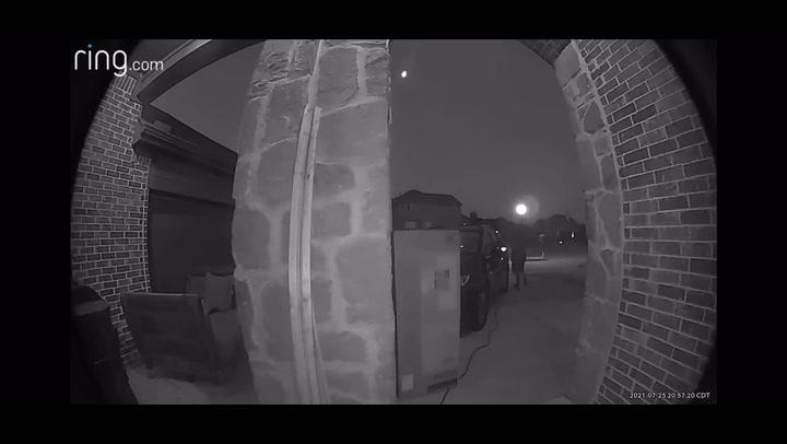 Meteor streaking across Texas sky caught by doorbell camera