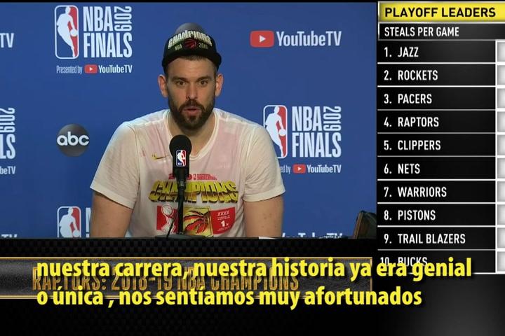 Rueda de prensa de Marc Gasol tras ganar el anillo de la NBA