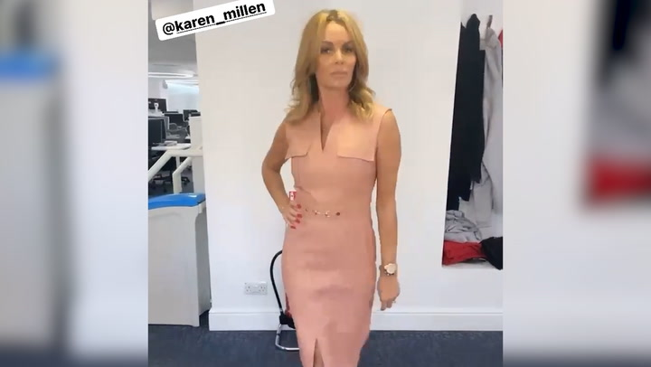 Amanda Holden struts in leather dress
