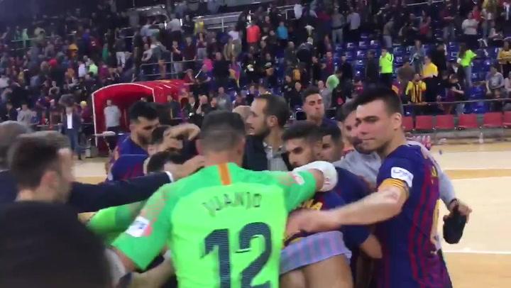 El Barça de fútbol sala celebra el pase a semifinales del playoff