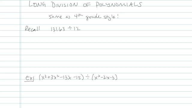 Dividing Polynomials using Long Division - Problem 4