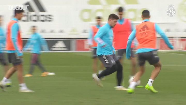 Eden Hazard takes part in Real Madrid training