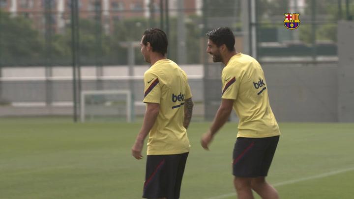 Primer entreno colectivo del FC Barcelona a 12 días del reinicio de LaLiga