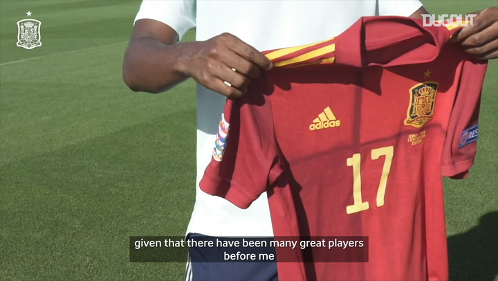 Ansu Fati on his Spain debut