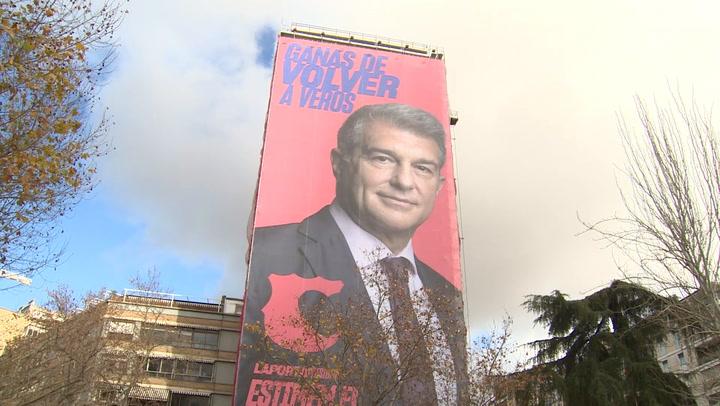 Pancarta gigante de Laporta en Madrid