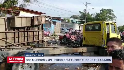 Dos muertos y un herido deja fuerte choque en La Unión de San Pedro Sula