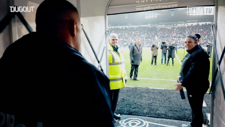 Wayne Rooney walks out at Pride Park for the first time