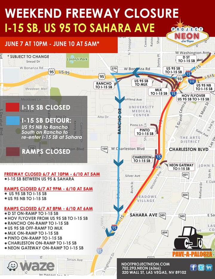 Project Neon I-15 S closure detour – VIDEO   Las Vegas Review-Journal
