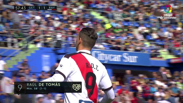 LaLiga: Getafe-Rayo Vallecano. Gol (1-1) de Raúl de Tomás (min 58)