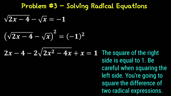 Solving Radical Equations Problem #1 Video