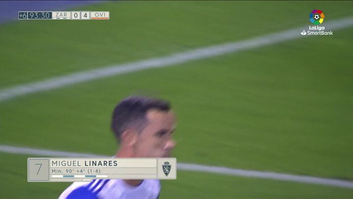 Gol de Linares (1-4) en el Zaragoza 2-4 Oviedo