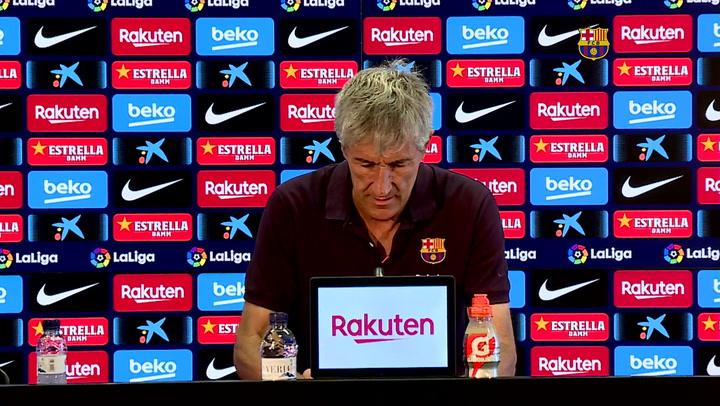 La rueda de prensa de Setién, previa del partido del Barça contra el Atlético de Madrid