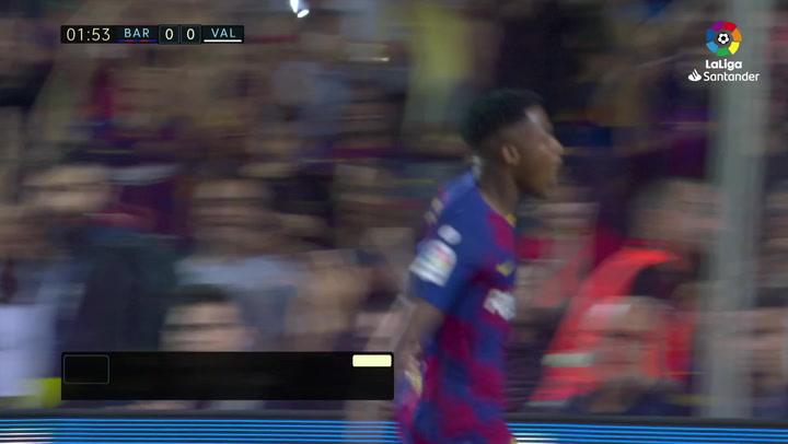 Ansu Fati puso en pie al Camp Nou con su partidazo: gol, asistencia, regates...