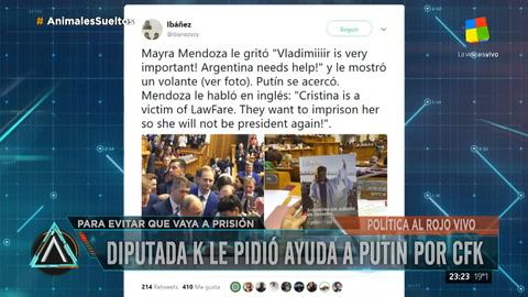 Mayra Mendoza le pidió ayuda a Putin para que no metan presa a Cristina