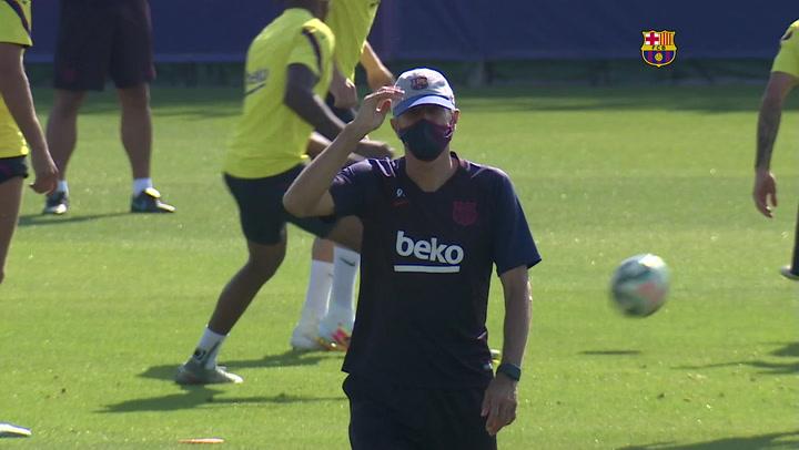 El entrenamiento del FC Barcelona previo al partido contra el Atlético de Madrid