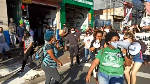 Manifestación contra el racismo y la violencia policial en Sao Paulo