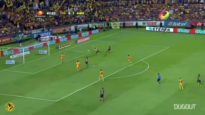 La asistencia de Raúl Jiménez en su último partido con el América