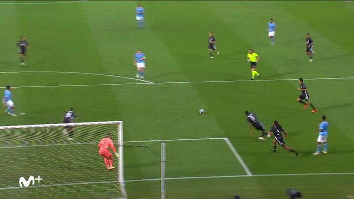 Champions League Manchester City-Lyon. Gol de De Bruyne (1-1)