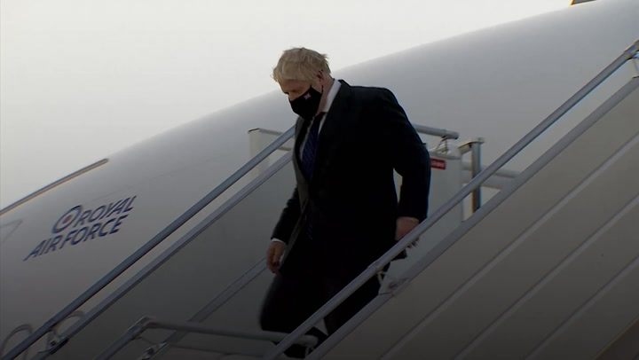 Boris Johnson discusses 'short-term' energy crisis on arrival in New York
