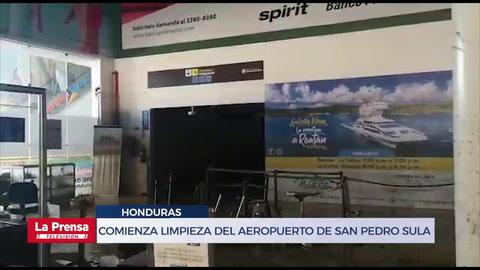Comienza limpieza del aeropuerto de San Pedro Sula tras ser inundado por Eta y Iota