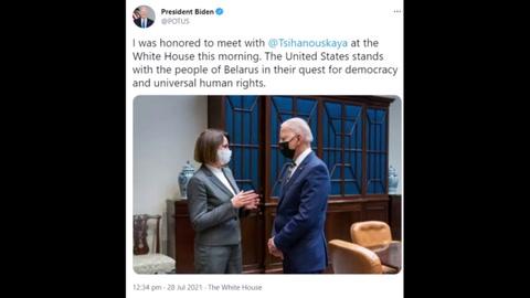 Biden recibió en la Casa Blanca a la líder de la oposición de Bielorrusia