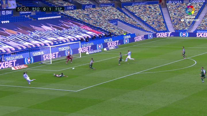 Gol de Willian José (1-1) en el Real Sociedad 2-1 Espanyol