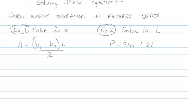 Solving Literal Equations - Problem 5