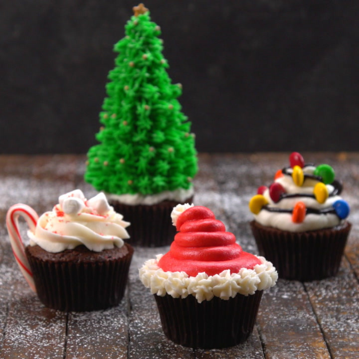 Christmas Themed Cakes Pictures.Decorative Christmas Cupcakes