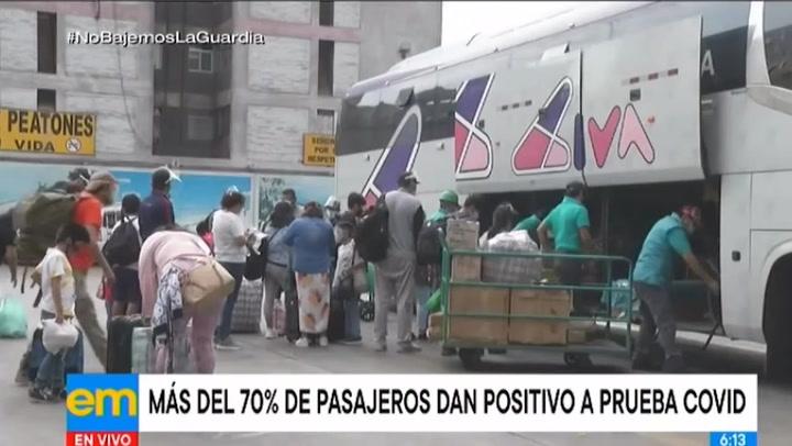 Reportan que el 70% de pasajeros de buses interprovinciales dan positivo a la COVID-19 en terminal Atocongo