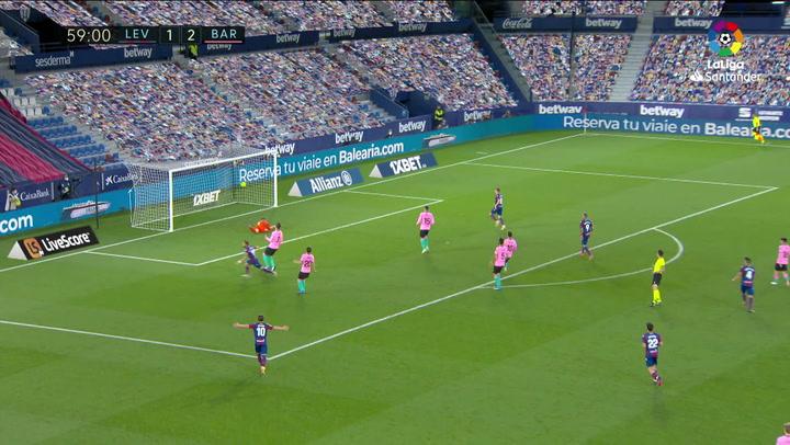 Gol de Morales (2-2) en el Levante 3-3 Barcelona