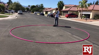 Getti Kehayova spins her 17-foot hula hoop