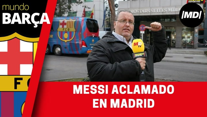 Llegada del FC Barcelona al hotel de concentración en Madrid