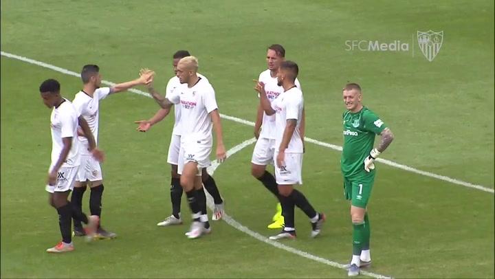 Victoria del Sevilla por 0-1 frente al Everton con una gran acción de Ocampos