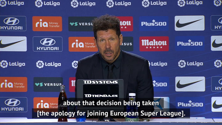 Atleti's apology for Super League involvement was a 'great gesture' - Simeone
