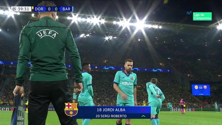 Champions League: Dortmund-Barça. Jordi Alba se marcha lesionado