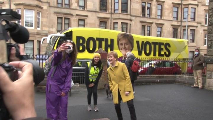 SNP leader Nicola Sturgeon visits polling station for Scottish Parliament election