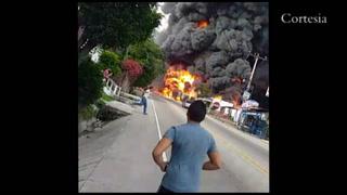 Incendio en carretera al Sur de Tegucigalpa tras choque de cisterna llena de combustible