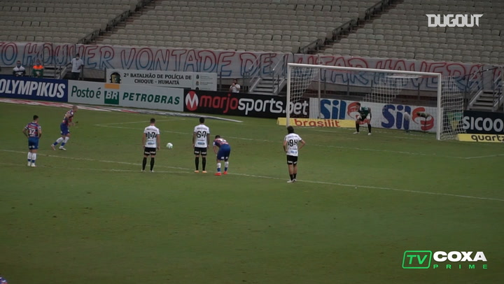 Coritiba's midfielder becomes goalkeeper to save a 96th minute penalty