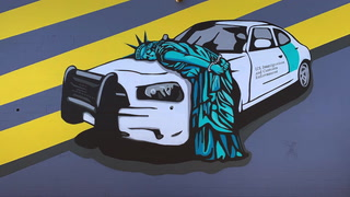 Statue of Liberty mural about immigration arrests