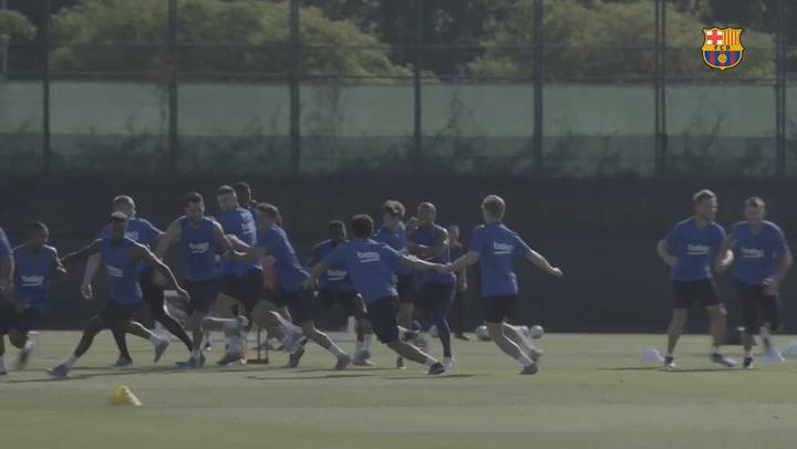 Segunda jornada de entrenamiento del FC Barcelona