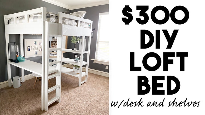 Diy Loft Bed Part 2 Shanty Chic, Loft Bed With Desk Plans