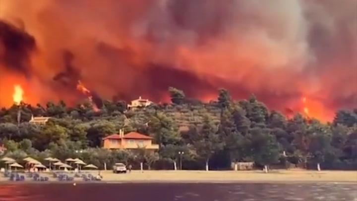สะพรึง! ไฟป่าลุกโชนโหมไหม้เกาะอีเวีย ประเทศกรีซ อพยพคนวุ่น