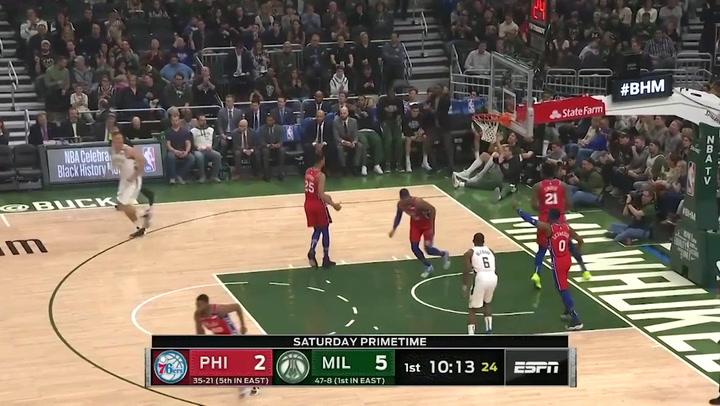 Giannis Antetokounmpo jugador destacado de la jornada de la NBA (22/02/2020)