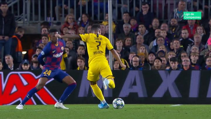 Champions League: Barça - Borussia Dortmund. Gol de Jadon Sancho (3-1)
