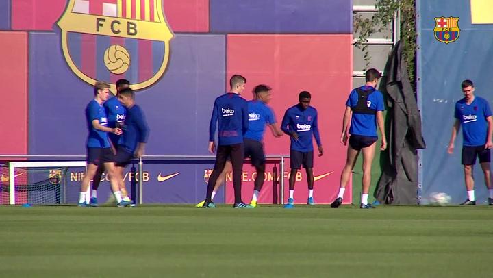 El Barça se entrena pensando en la visita a Eibar