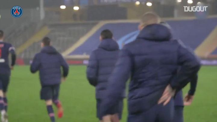 PSG celebrations after Trophée des Champions win against Olympique de Marseille