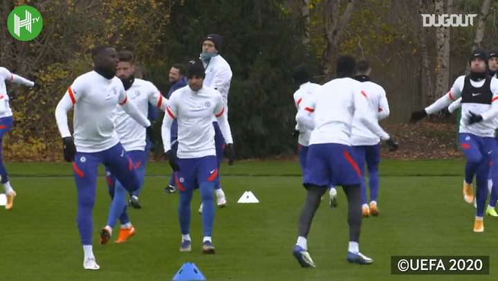 Chelsea stars in training before Rennes clash